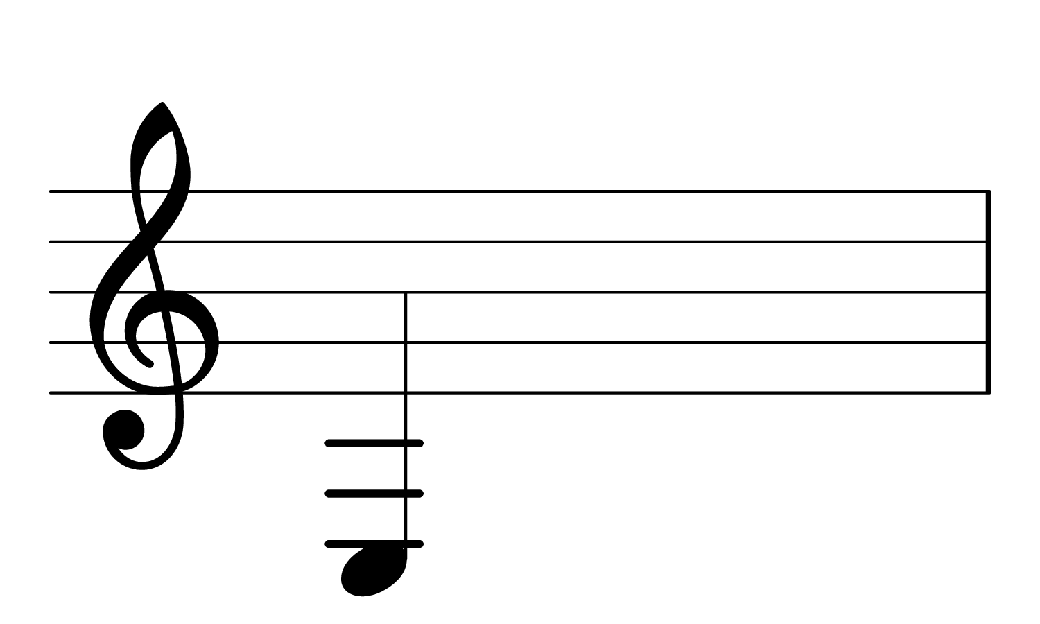 The note low E on the musical staff.