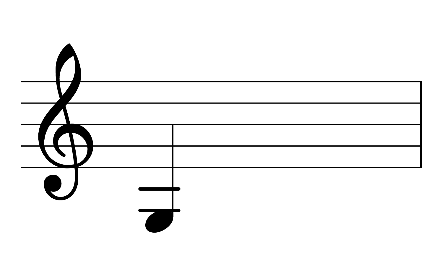 The note G2 on the treble clef.