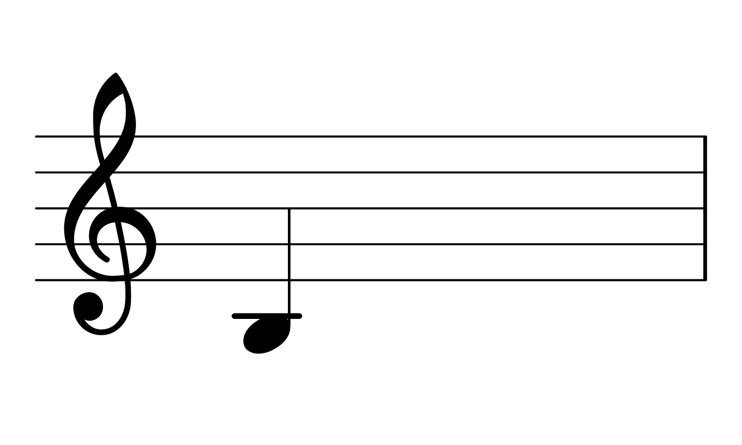 The note B2 on the treble Clef.