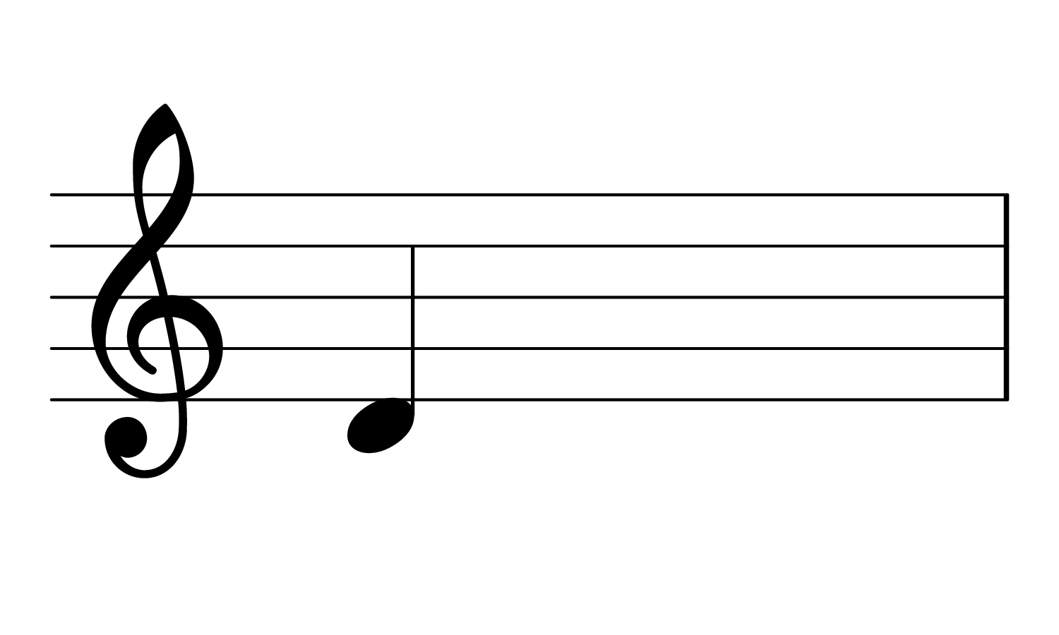 The note D3 on the treble clef.