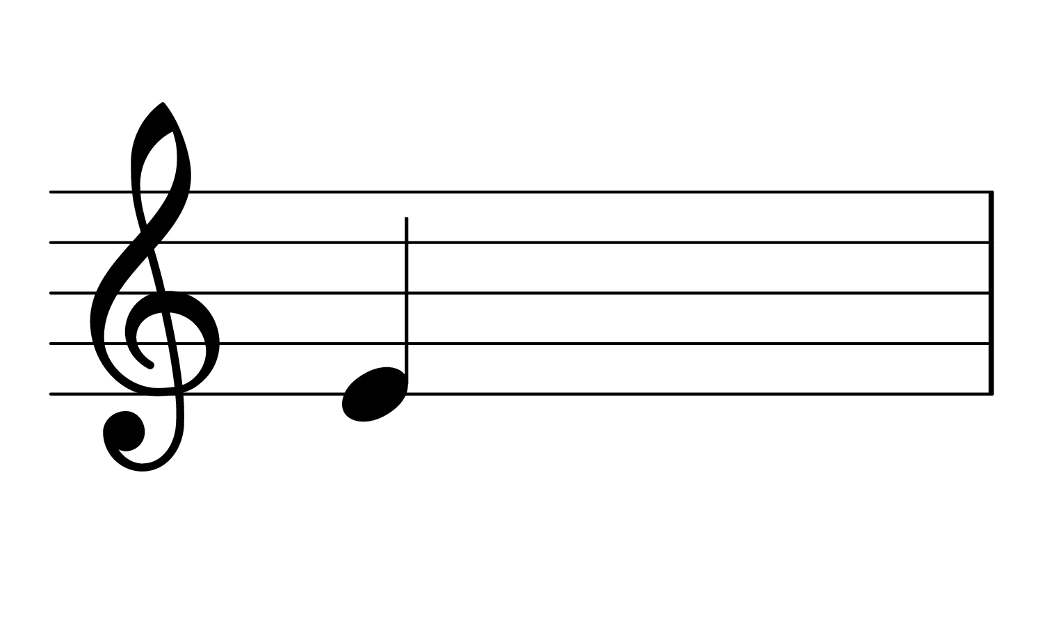 Image of the note E3 on the treble clef.