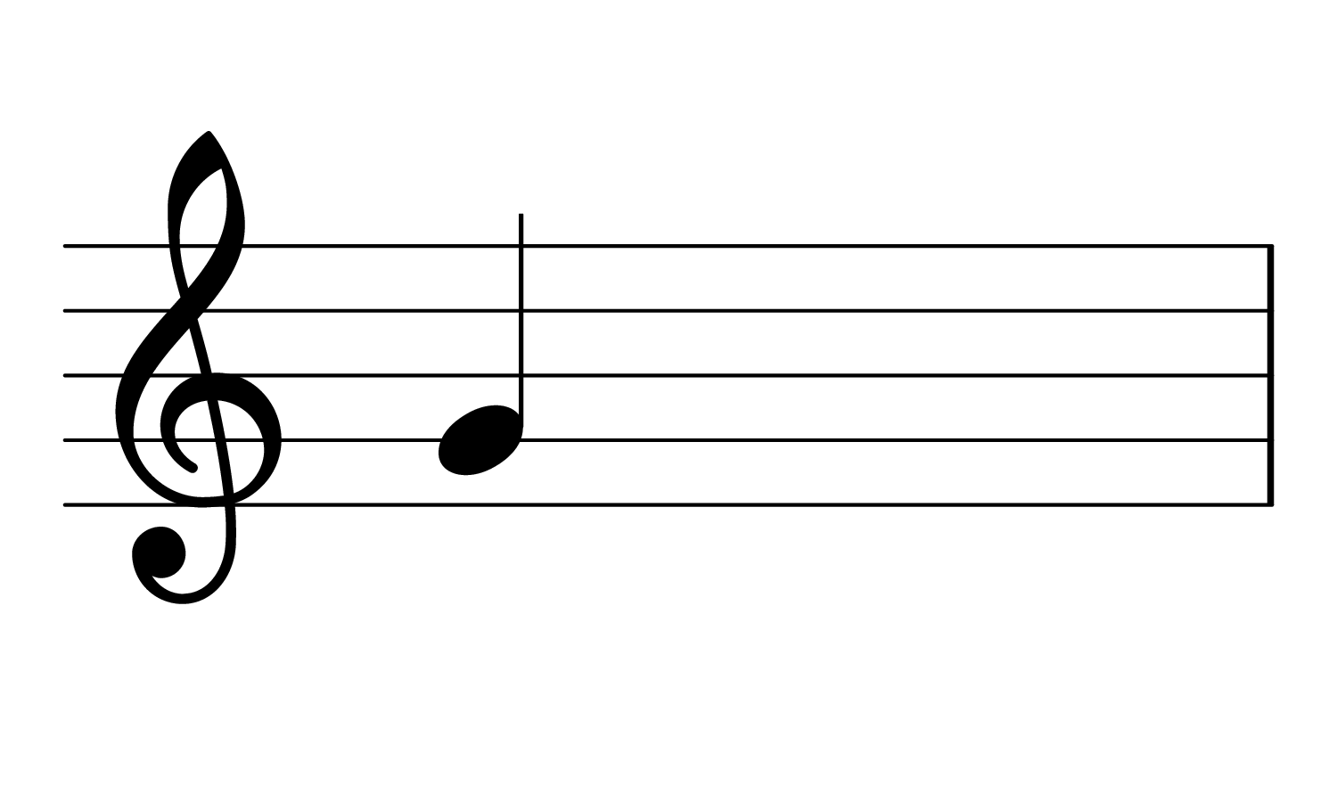 The note Treble G on the musical staff.