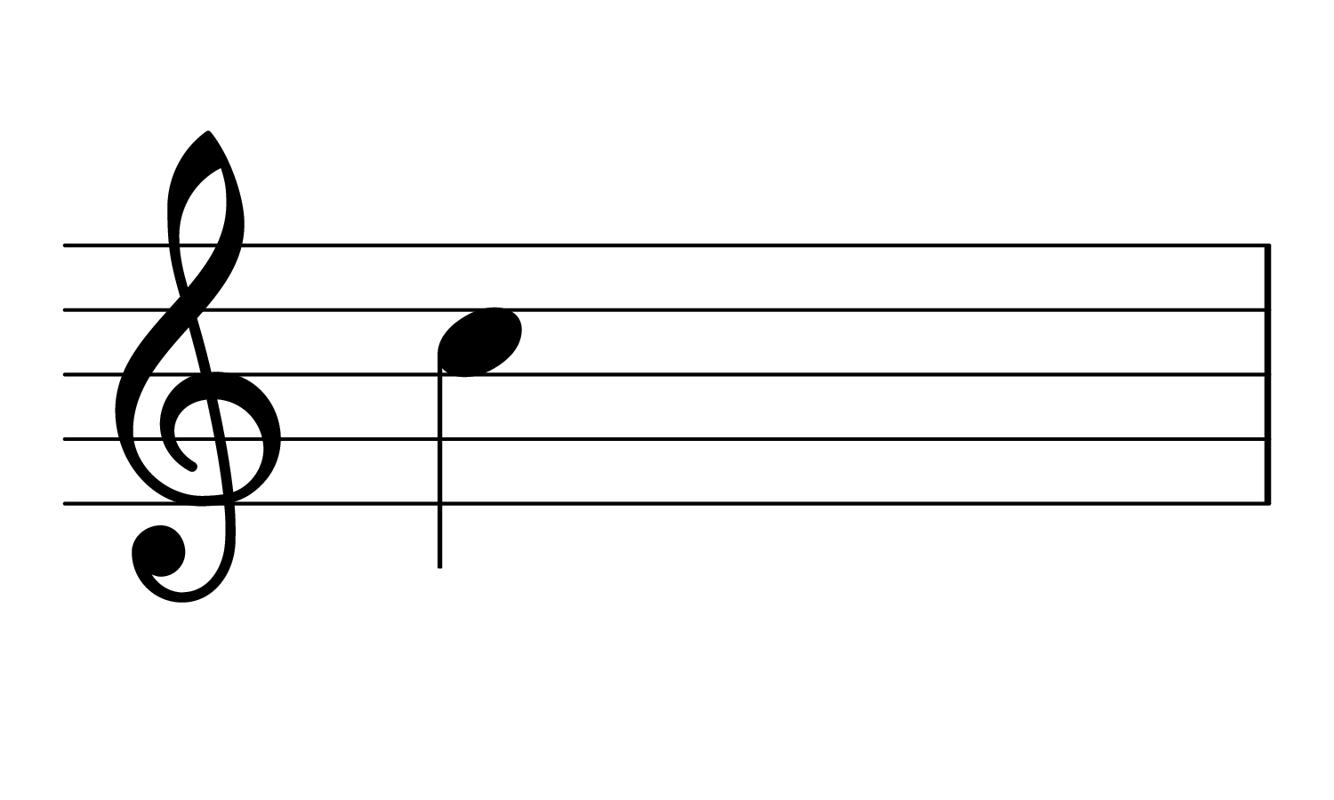 The note Treble C on the musical staff.