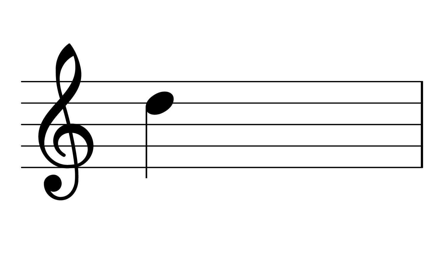 The note D on the treble clef.