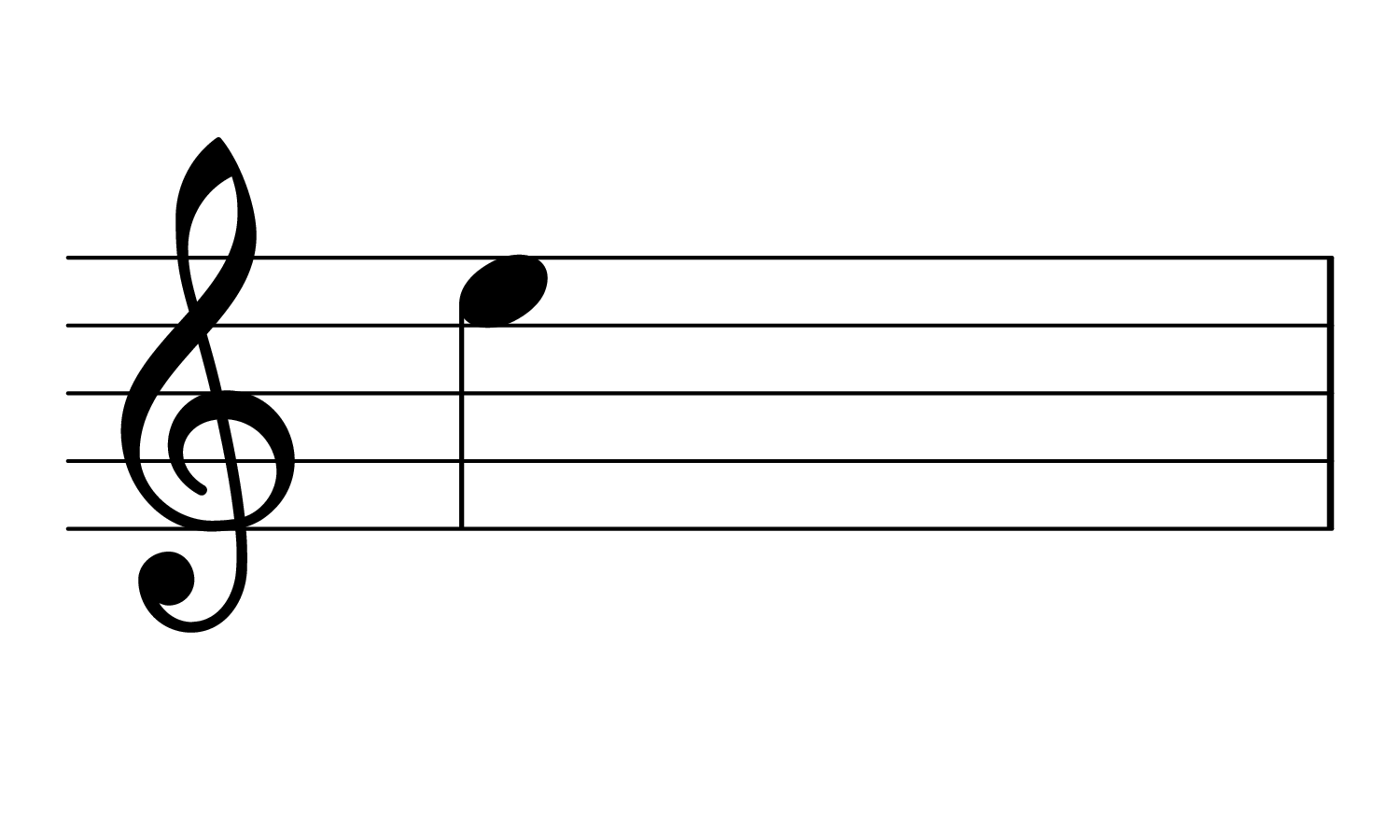 The note E3 on the treble clef.