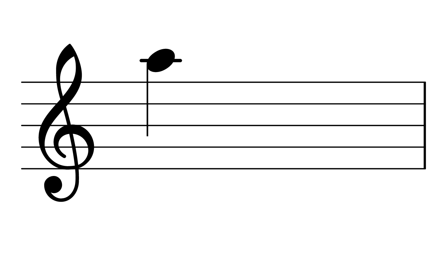The note A4 on the treble clef.