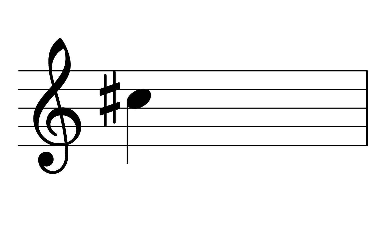 C#4 on the treble clef